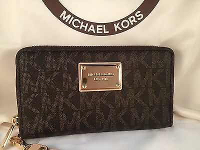 New Authentic MICHAEL KORS Jet Set Brown Large Flat Phone Case Wristlet Wallet