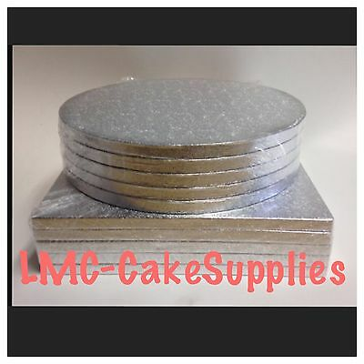 "Silver Round Square Cake Drum Boards. 12mm Strong Base 8"" 10"" 12"" 14"" 16"""