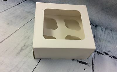 """4 Hole Cupcake boxes with Windows includes inserts, 3"""" deep."""