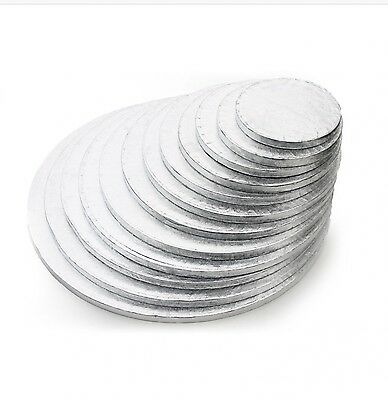 """Silver Round Cake Drum Boards.12mm thick Strong Base 6"""" - 16"""" Cake decorating"""
