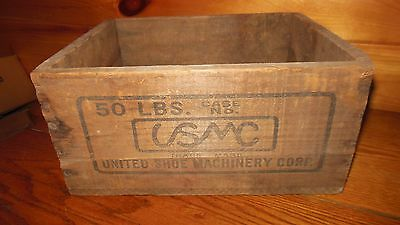 Vintage Wooden UNITED SHOE MACHINERY CO.Shipping Box / BOSTON,MASS.