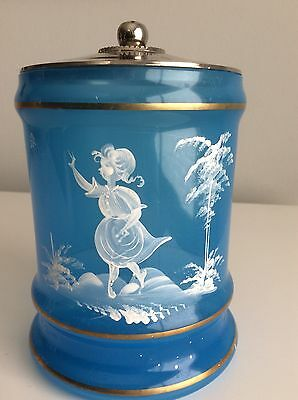 Vintage Mary Gregory Hand Painted Blue Vanity Jar With Metal Lid Gold Trim