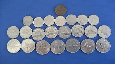 Lot Of Mixed Canadian Coins  Years 60's-  70's-80's One1- 5 -10- 25 Cents