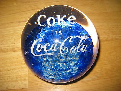 Vintage Coke Is Coca Cola Glass Paperweight  Blue