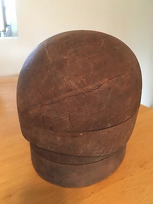 Vintage Wood Mens Hat Mold 4 Pieces -Marked 22 1/2  736