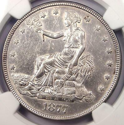 1877 Trade Silver Dollar T$1 - Certified NGC AU Details - Rare Certified Coin!