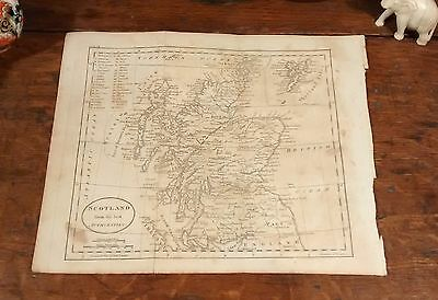 Original 1805 Rare Jedidiah Morse Antique Map SCOTLAND Edinburgh Glasgow Dundee
