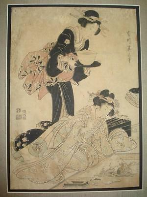 Authentic Antique Kikugawa Eizan Japanese Woodblock Print Geisha Women Signed