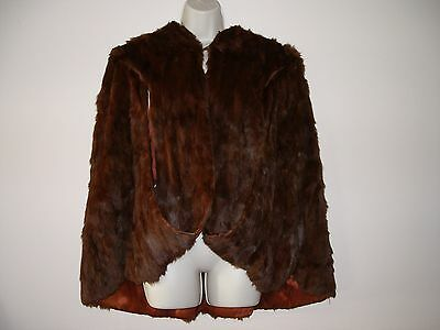 Redish Brown Vintage Mink Stole Fur Hollywood Swing Coat Shawl/Cape1950s