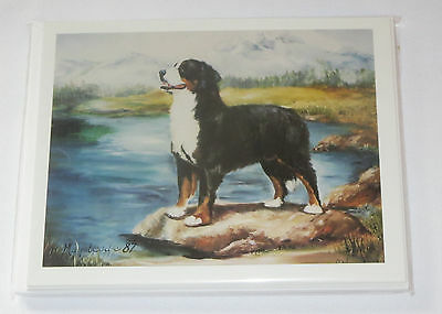 Bernese Mountain Dog Notecards Envelopes Set of 6 New Dogs Water