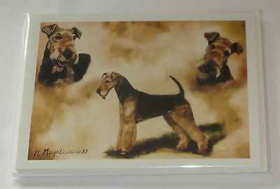Airedale Terrier Dog Notecards Envelopes Set of 6 New Dogs Note Cards