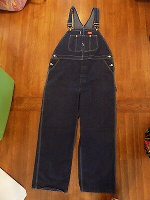 Men's Dickies Denim Bib Carpenter Overalls 44 x 32 Dark Blue Denim Excellent EUC