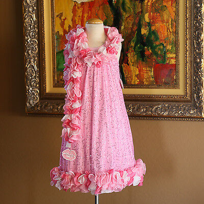 LIPSTIK GIRLS Pink Tulle Party Dress with Boa GORGEOUS! Size 10 NWT