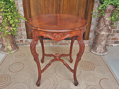 Antique French Louis Xvi Style Carved Mahogany Table Burled Marquetry Inlaid Top