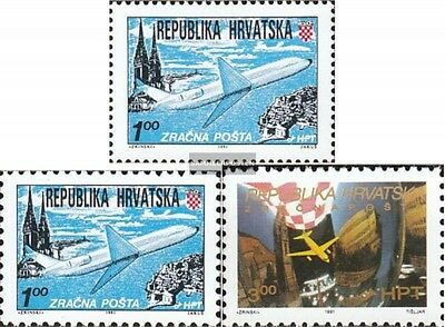 Croatia 179A,179C,181 mint never hinged mnh 1991 Airmail Zagreb