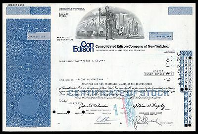 Consolidated Edison Electric Co of New York 1970s BLUE Stock Certificate  VG+