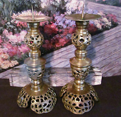 "Vintage Pair Solid Brass 9"" Candle Sticks Hand Forged Carved Dragon Accents"
