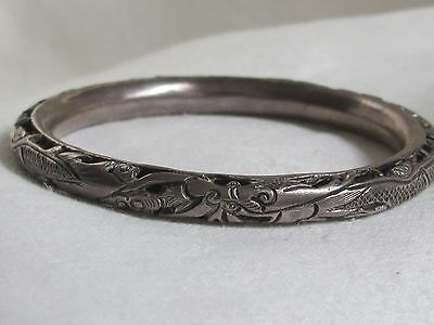 Antique Chinese 3 Dragons silver Chinese mark bracelet