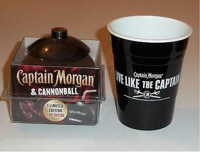 2 New Captain Morgan cups: Cannonball Limited Edition & black hard Plastic solo