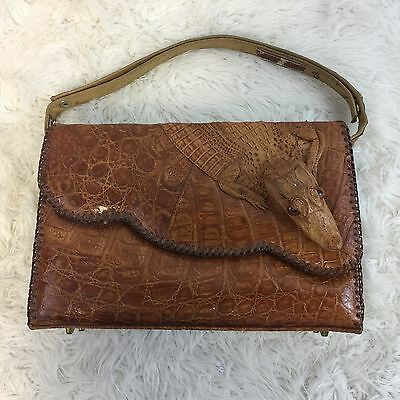 Vintage Real Alligator Leather Purse Hand Bag Taxidermy Rare Full Body