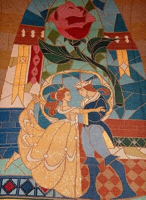 NEW Disney Parks BEAUTY & THE BEAST Woven Tapestry Throw Blanket