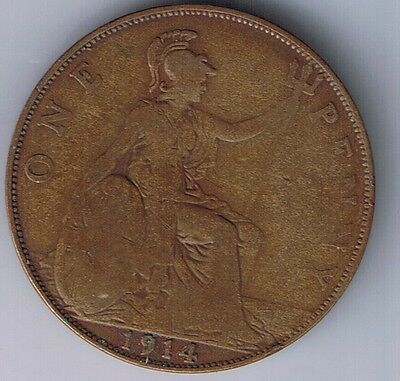 1914 United Kingdom 1 Penny one Pence coin UK British English Great Britain