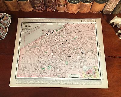 Original 1898 Antique Map CLEVELAND Ohio OH Streets Parks Historic Landmarks