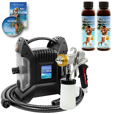 ULTRA PRO PLUS Sunless Airbrush Spray Tanning System w/ 2 Belloccio Solutions