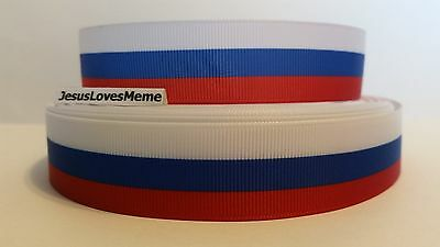 "Red White and Blue Grosgrain Ribbon 1/"" 25mm x 100 Meter 100m Woven Polyester USA"