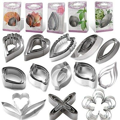 50Style Stainless Steel Biscuit Baking Peony Flower Leaf Cake Cookie Cutter Mold
