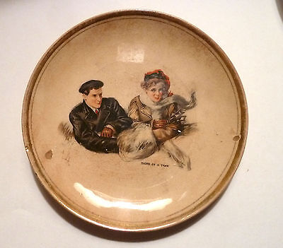 Small Ceramic PLATE DRESDEN CHINA Mark SIGNS OF A THAW Boy Girl 1910s