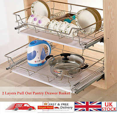 2 Tiers Stainless Steel Pull Out Wire Baskets For Kitchen Cupboard Drawer Larder