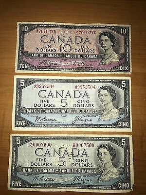2 1954 Canada Five $5 Cinq, and 1 Ten $10 Dix Dollar Bill Banknote Ottawa Note