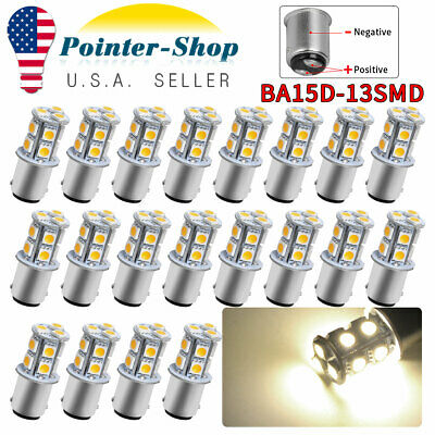 20x 1157 Warm White BA15D 1154 5050 Chip13-SMD 4300K LED Interior Light Bulbs