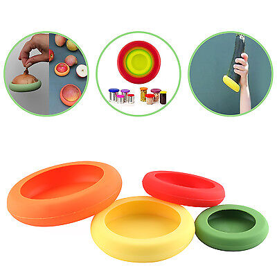 4pcs Size Kitchen Flexible Silicone Vegetable Fruit Food Huggers Storage Cover