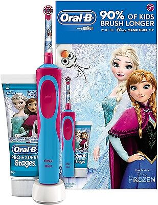 Braun Oral-B FROZEN Rechargeable Electric Toothbrush + Toothpaste Kids Gift Set