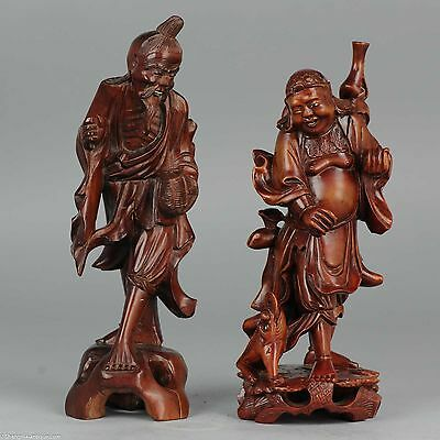 SET Ca 1900 Chinese Hand Carved Statue Shoulao God Immortal Antique