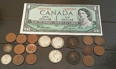 Mixed lot of Vintage Collectable Canadian coins and paper money.