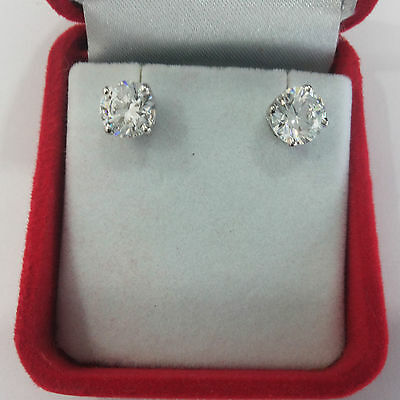 2.00 Ct Round Cut Diamond Earrings Studs BIS 14K Solid White Gold Screw Back