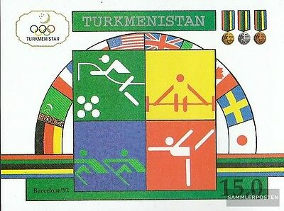 turkmenistan block2 mint never hinged mnh 1992 Olympics Summer ´92