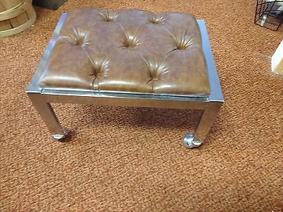 Jessup Furniture Footstool Chrome Vinyl With Wheels Retro Mid Century Modern