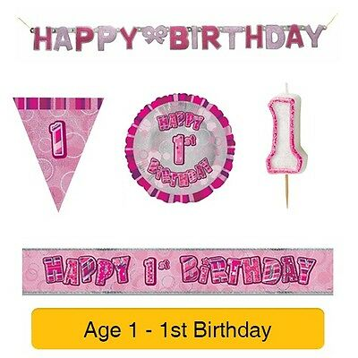 AGE 1 - Happy 1st Birthday PINK GLITZ - Party Balloons, Banners & Decorations 2