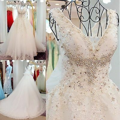 Luxury White Ivory Lace Beaded Wedding Dress Bridal Gown Ball Gown Custom Size