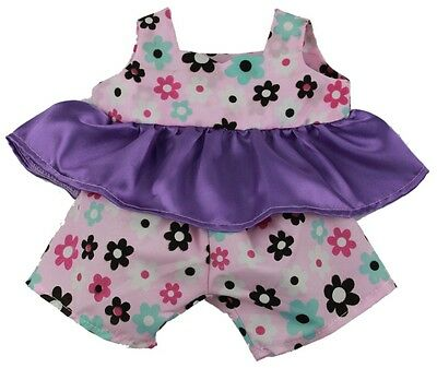 "Pretty Summer floral outfit teddy bear clothes fits 15"" Build a Bear"