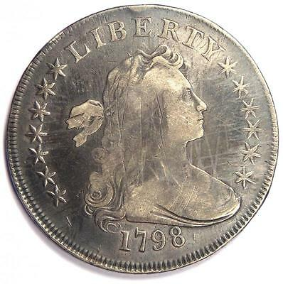 1798 Draped Bust Silver Dollar $1 - Very Fine Details (VF) - Rare Type Coin!