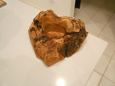 "Three In One Burl Wood Carved Out Dish Set-Very Good-8"" X 6"" X 3 1/4"""