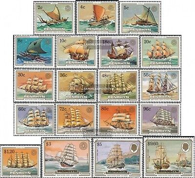 Penrhyn 369-387 mint never hinged mnh 1984 Sailboats