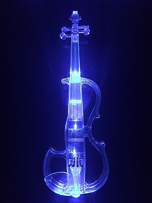 Luminous, Transparent, Acrylic Violin, Electronic Electro-acoustic Violin, Blue