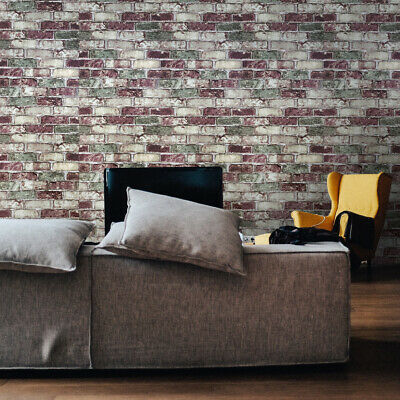 Vinyl Wallpaper 3D wallcovering textured roll brown red modern rustic old brick