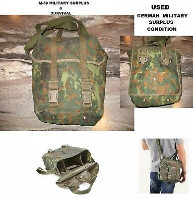 Shoulder Bread Bag With Shoulder Strap - German Military - Flecktarn Camo - Used